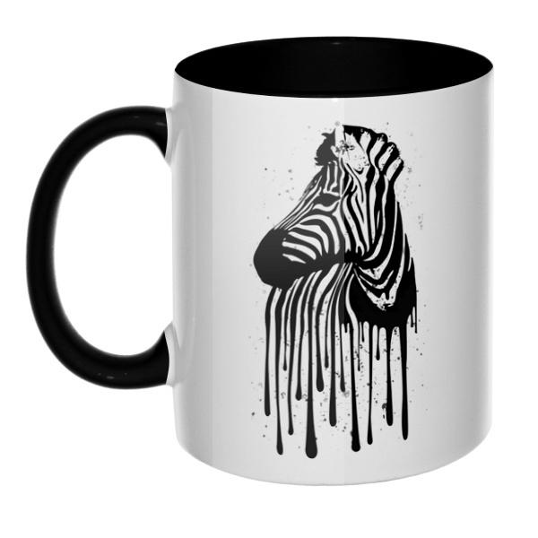 Стекающий рисунок зебры, кружка цветная внутри и ручка
