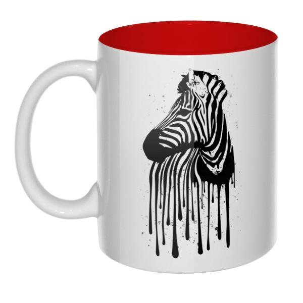Стекающий рисунок зебры, кружка цветная внутри