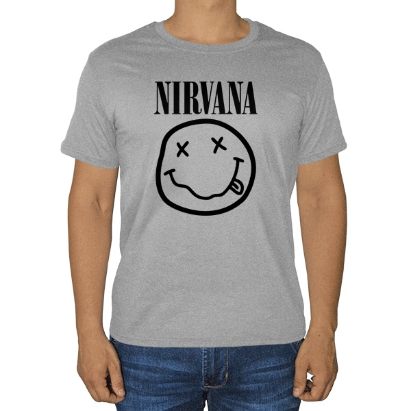 Нирвана, серая футболка (меланж)