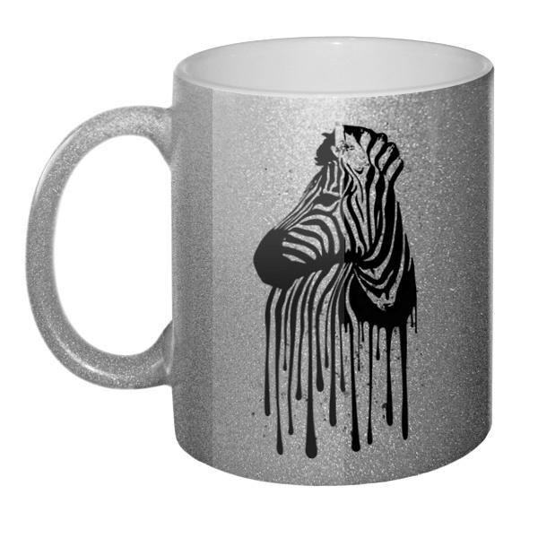 Кружка блестящая Стекающий рисунок зебры