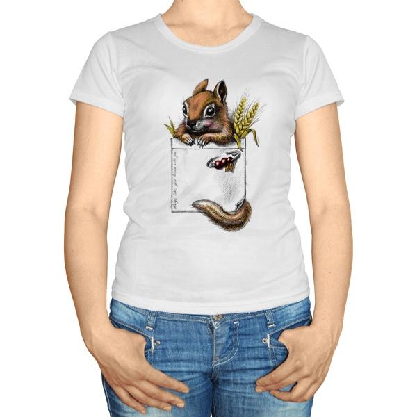 Женская футболка Белка в кармане
