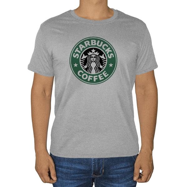 Старбакс, серая футболка (меланж)