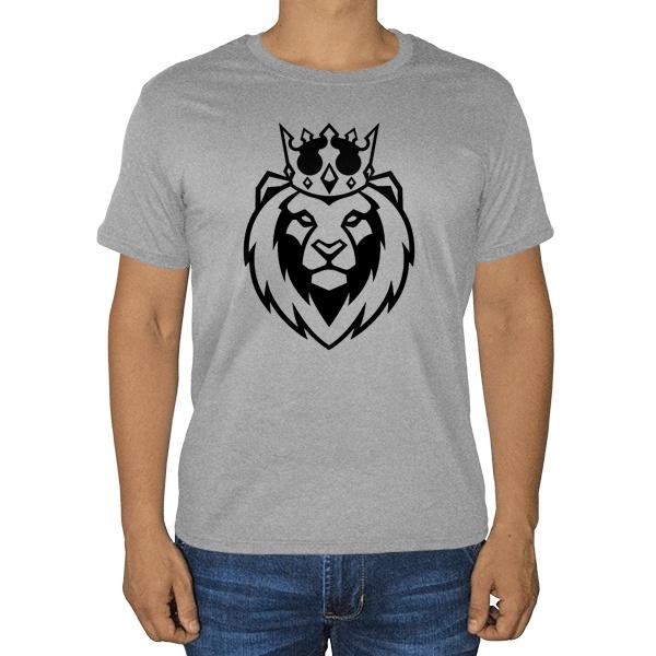 Лев в короне, серая футболка (меланж)