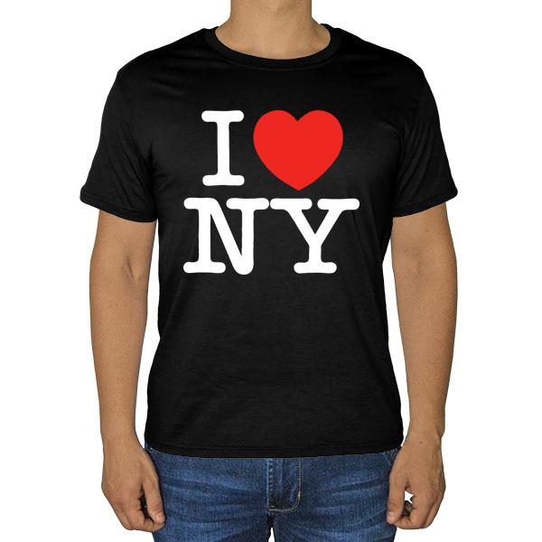 Черная футболка I love NY