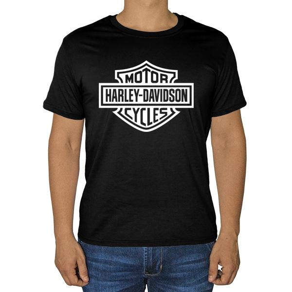 Черная футболка с принтом Harley Davidson