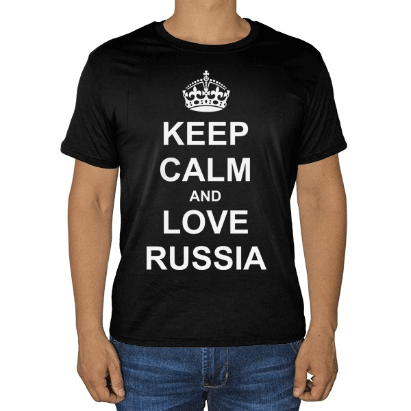 Черная футболка Keep calm and love Russia
