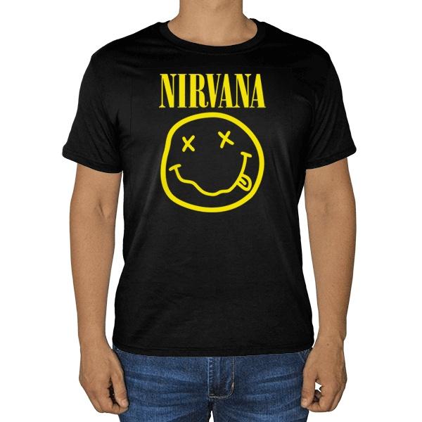 Черная футболка Nirvana (желтый принт на черном фоне)