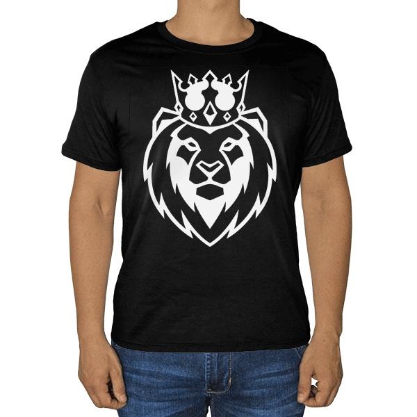 Черная футболка Лев в короне