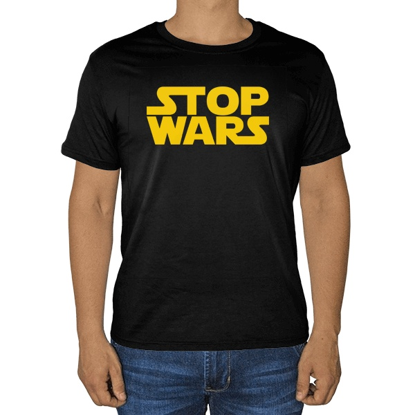 Черная футболка Stop Wars