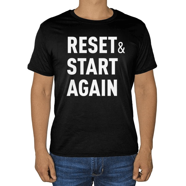 Черная футболка Reset and Start again
