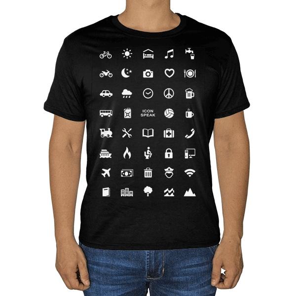 Черная футболка Принт для путешественника