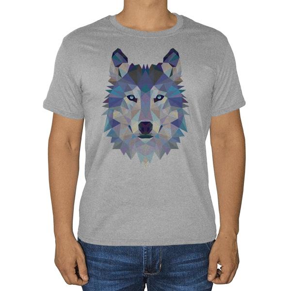 Полигональный волк, серая футболка (меланж)