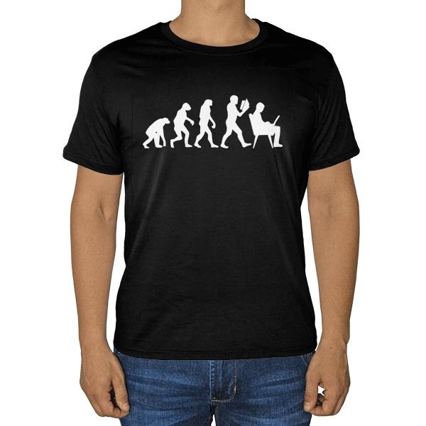 Черная футболка Эволюция
