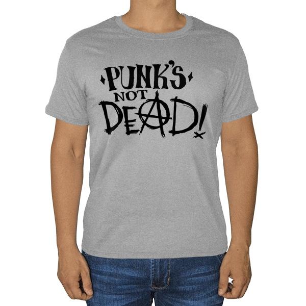 Punks not dead, серая футболка (меланж)
