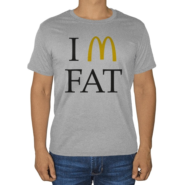 I am fat, серая футболка (меланж)