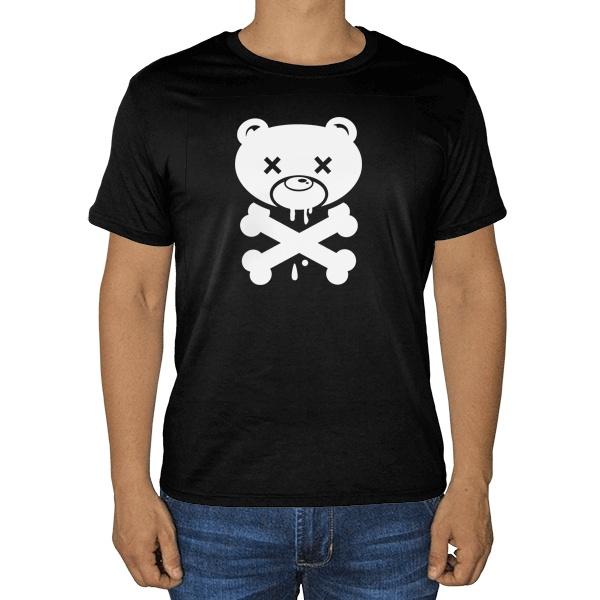 Черная футболка Медведь-пират