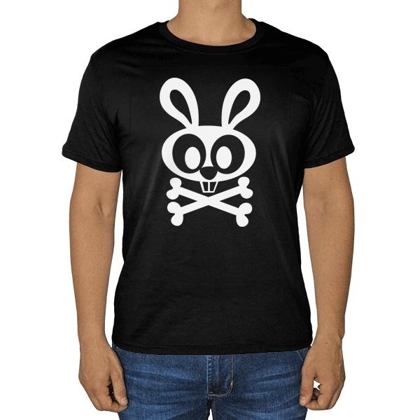 Черная футболка Заяц-пират