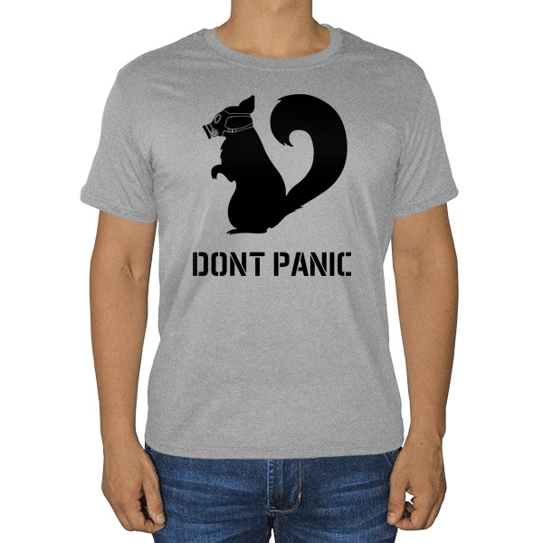 Dont Panic, серая футболка (меланж)