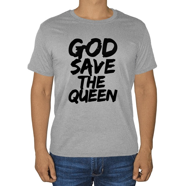 Боже, храни королеву, серая футболка (меланж)