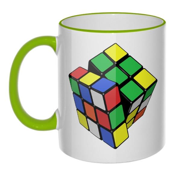 Кружка Кубик Рубика (цветной ободок и ручка), цвет салатовый