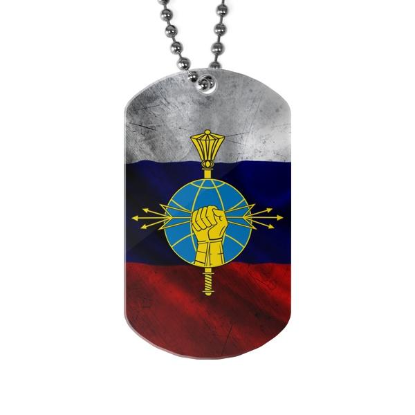Жетон с эмблемой РЭБ на фоне флага России