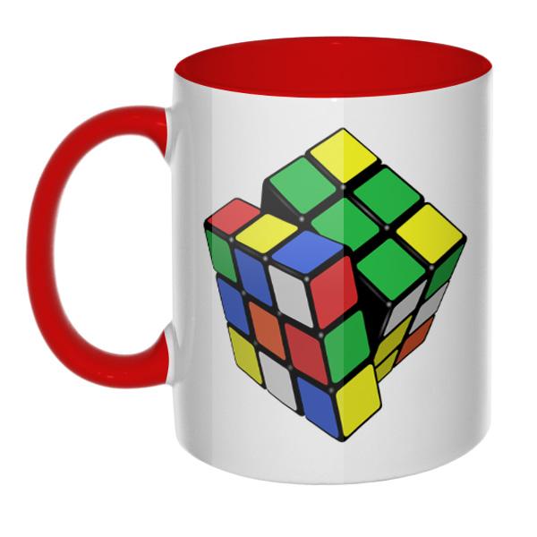 Кружка Кубик Рубика (цветная внутри и ручка), цвет красный