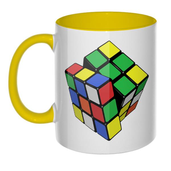Кружка Кубик Рубика (цветная внутри и ручка), цвет желтый