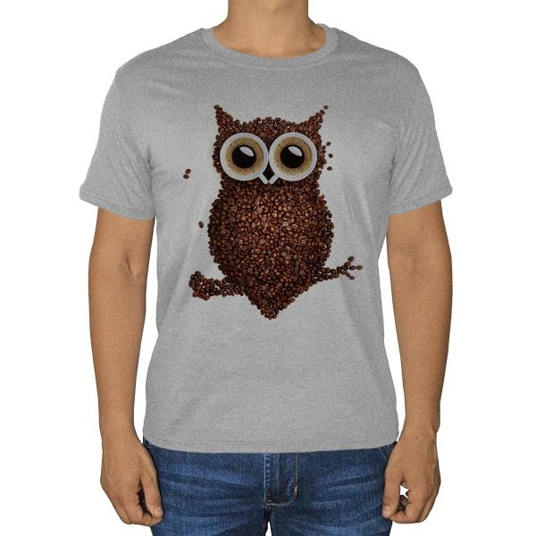 Сова из кофе, серая футболка (меланж)