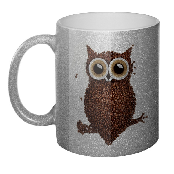 Кружка блестящая Сова из кофе