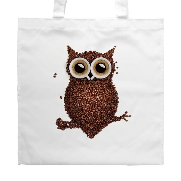 Белая сумка Сова из кофе