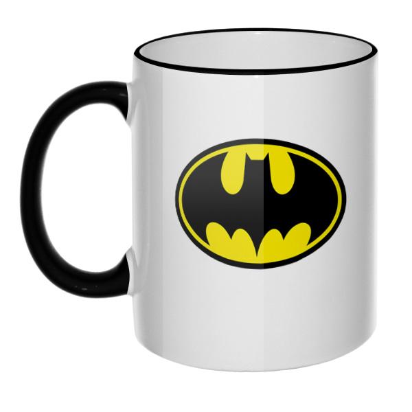 Кружка Бэтмен, цветной ободок и ручка, цвет черный