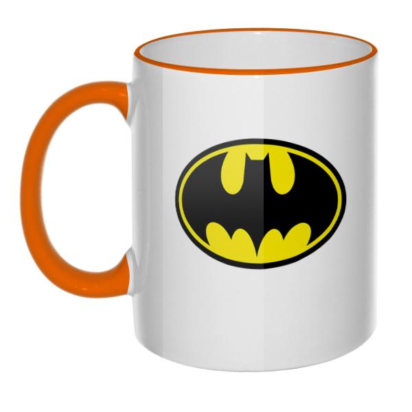 Кружка Бэтмен, цветной ободок и ручка