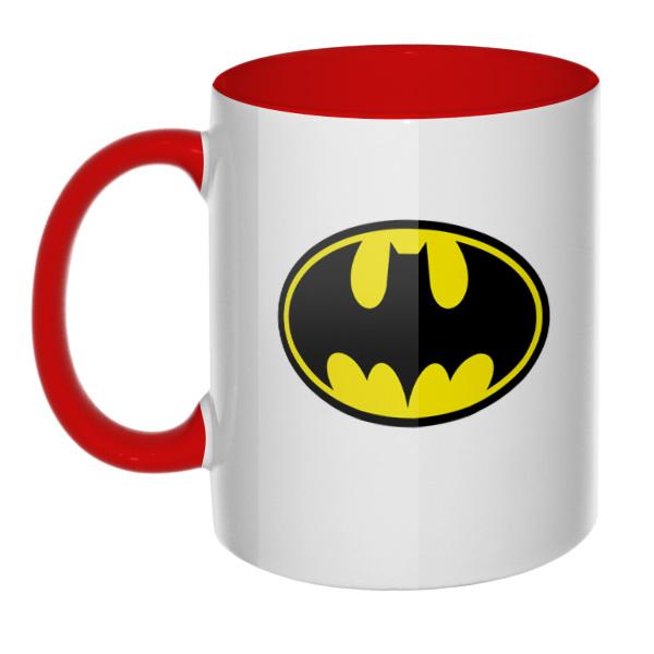 Кружка Batman, цветная внутри и ручка