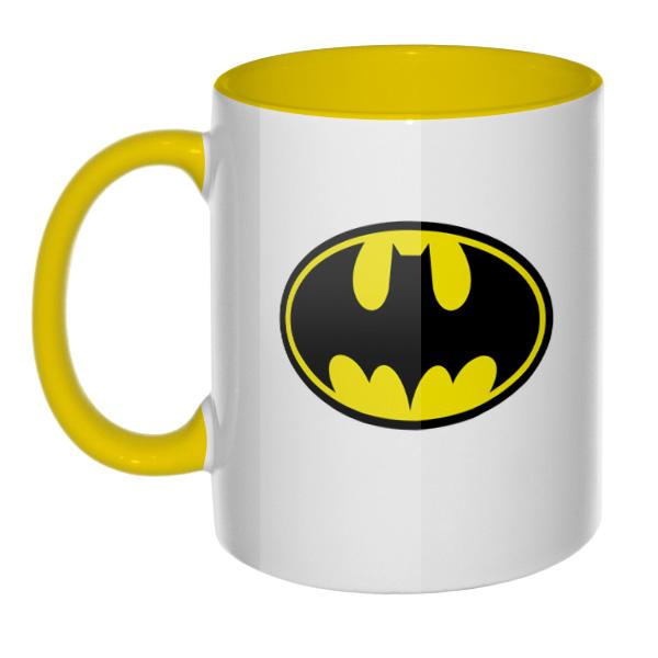 Кружка Бэтмен, цветная внутри и ручка, цвет желтый