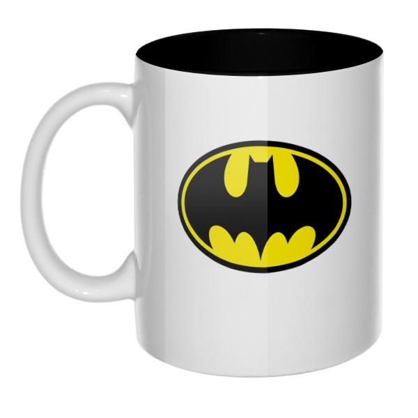 Кружка Бэтмен, цветная внутри и ручка, цвет черный