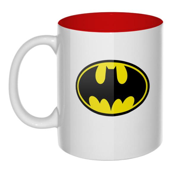 Кружка Бэтмен, цветная внутри и ручка, цвет красный