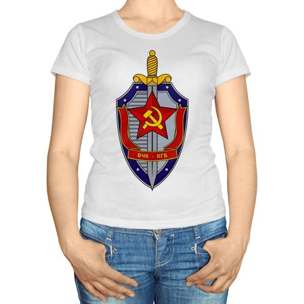 Женская футболка ВЧК КГБ, цвет белый