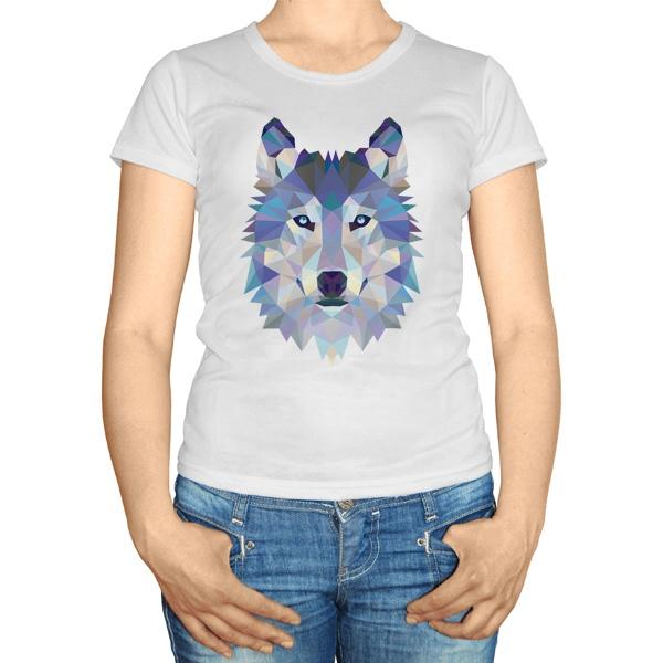 Женская футболка Полигональный волк