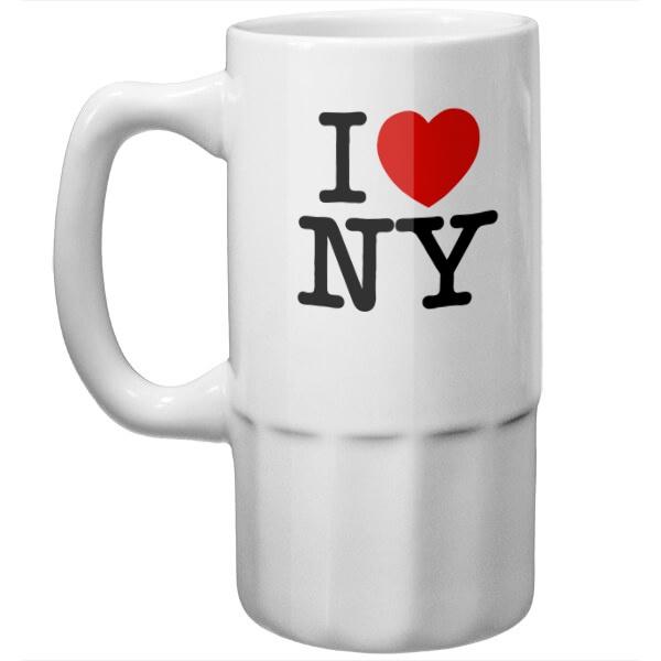 Пивная кружка Я люблю Нью-Йорк, цвет белый