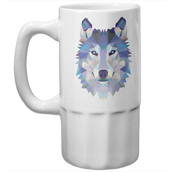 Пивная кружка Полигональный волк