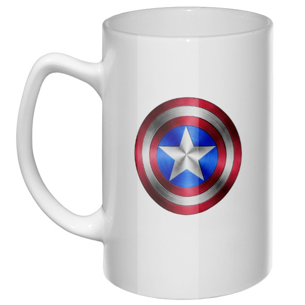 Большая кружка Капитан Америка, цвет белый