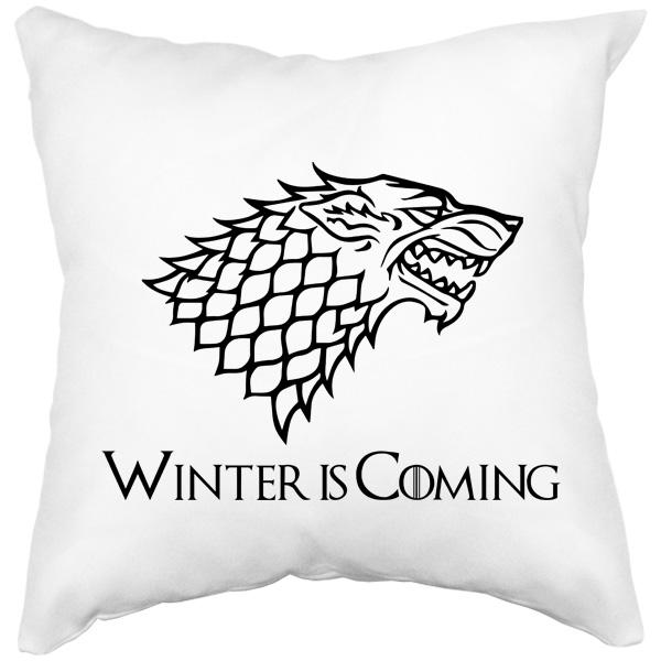 Подушка с рисунком волка (Игра престолов), цвет белый