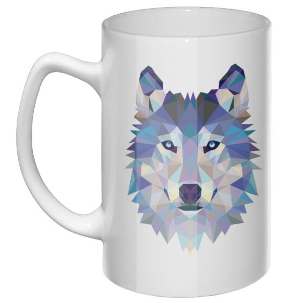 Большая кружка Полигональный волк