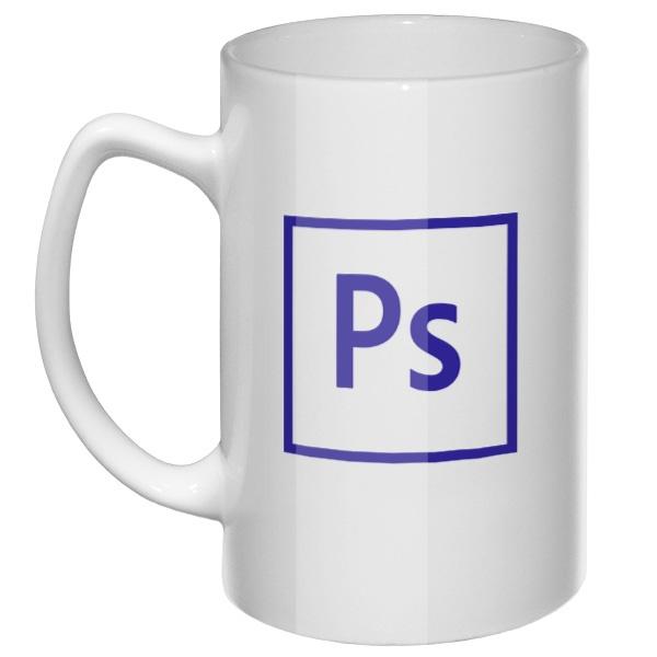 Большая кружка Photoshop, цвет белый