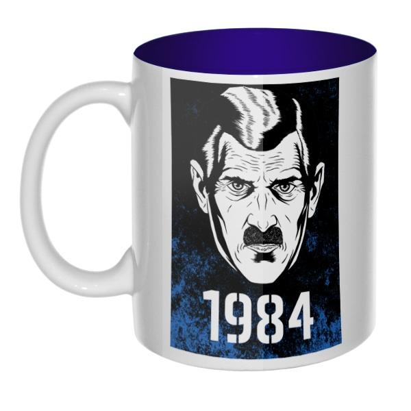 Кружка 1984 (Большой брат), цветная внутри, цвет темно-синий