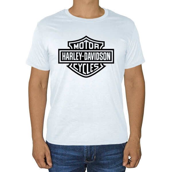 Белая футболка Harley Davidson, цвет белый