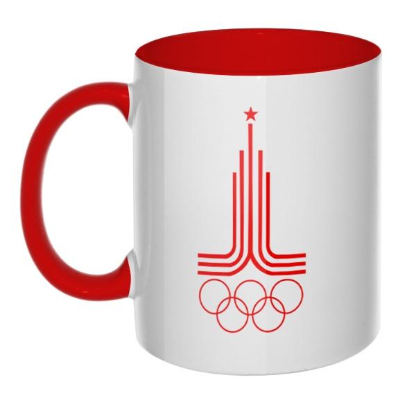 Эмблема Олимпиады 1980, кружка цветная внутри и ручка