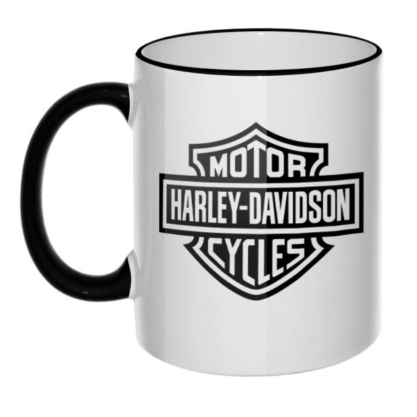 Кружка Harley Davidson, цветной ободок и ручка, цвет черный