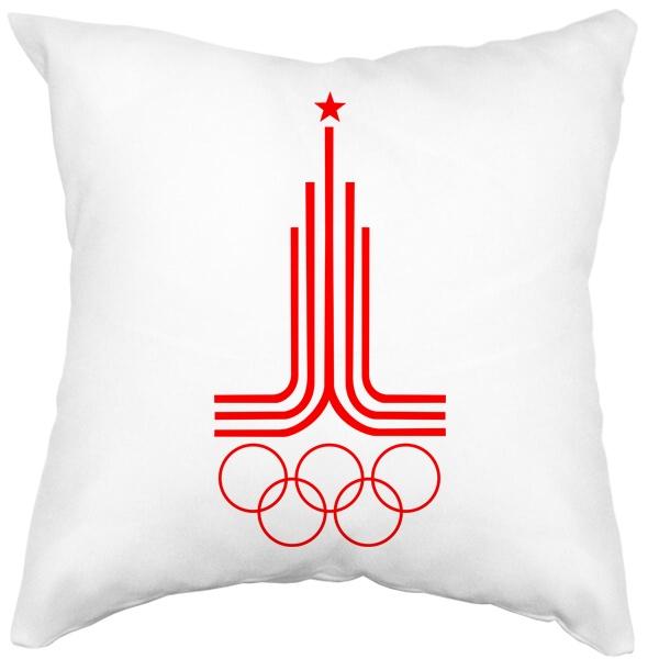 Подушка белая Эмблема Олимпиады 1980