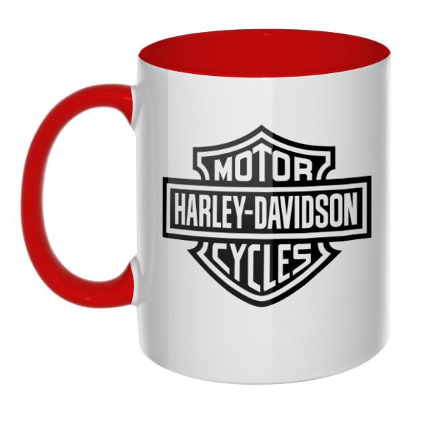 Кружка Harley Davidson, цветная внутри и ручка